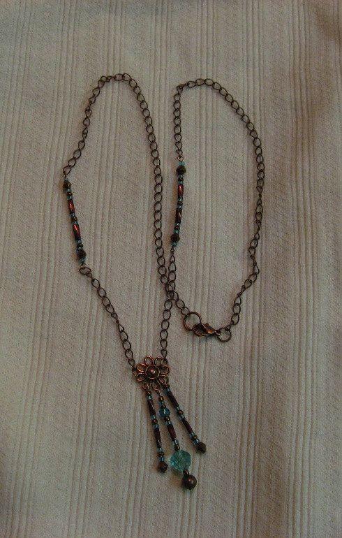 Copper & Aquamarine Swarovski Crystal by SnowflakeEclecticArt, $30.00