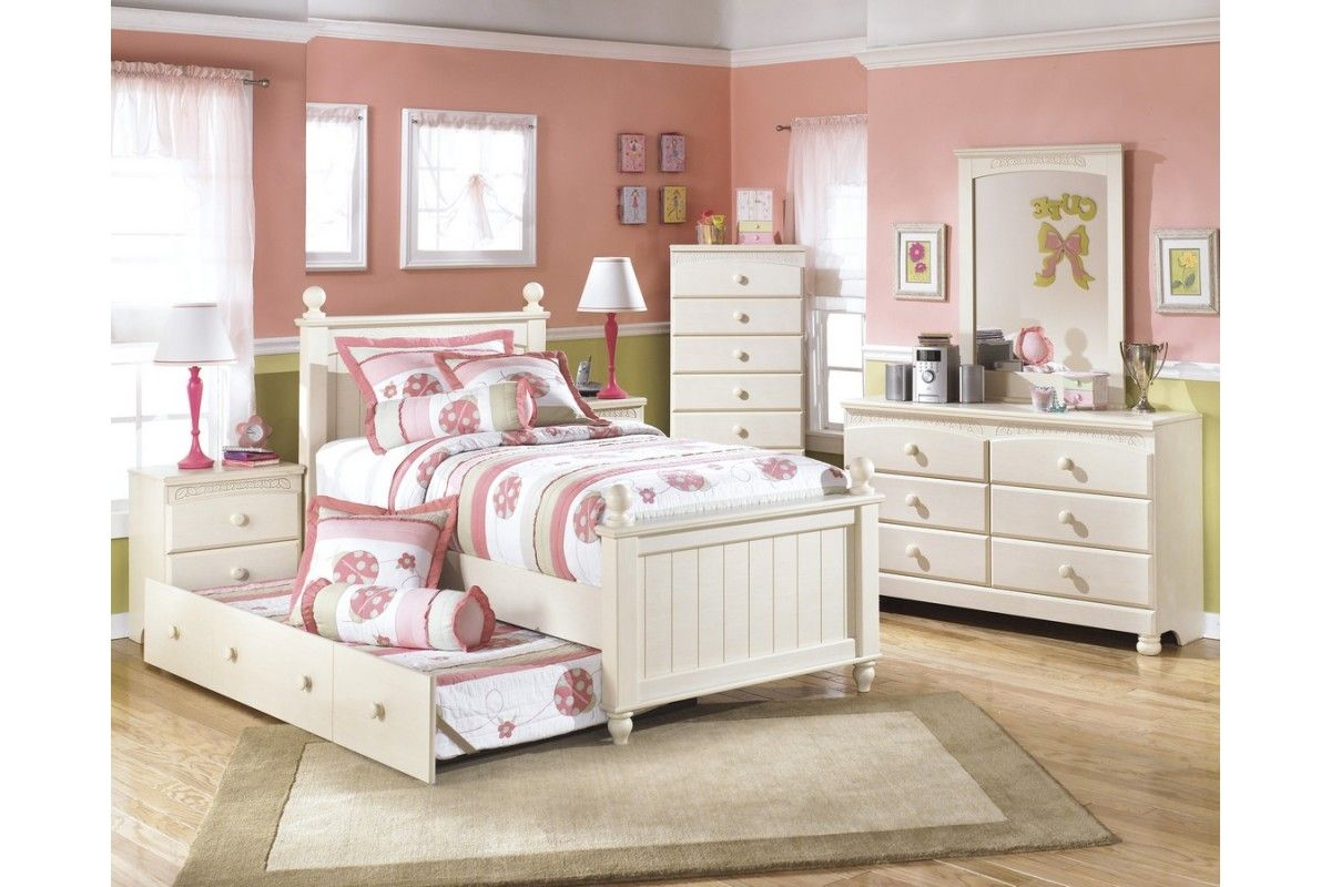 Beautiful White Themed Twin Bedroom Set For Girls With