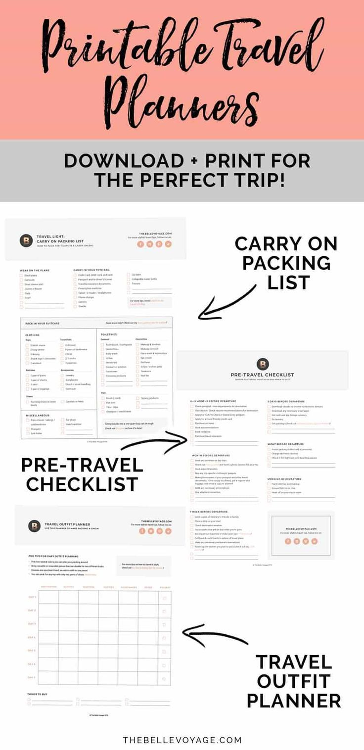 Printable Ultimate Packing Checklist For Travel  Vacation Packing