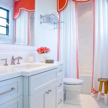 Shower With Red Valance And Greek Key Curtains Contemporary Bathroom Cornice Valence Pop Of Color