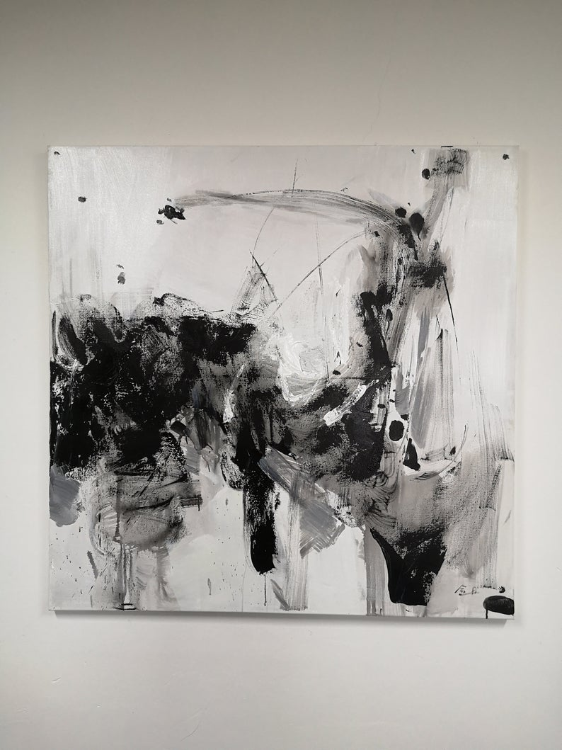 Large Abstract Oil Painting Oversize Painting Black White Etsy In 2021 Abstract Art Projects Oil Painting Abstract Abstract Art Painting Black and white abstract drawings