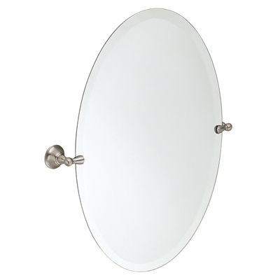 Images On Shop Moen Sage H x W Oval Tilting Frameless Bathroom Mirror with Brushed Nickel Hardware and Beveled Edges at Lowe us Canada Find our selection of bathroom