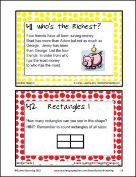 Math Problems And Math Brain Teasers Cards Set A Math Riddles Brain Teasers Fun Math Math Task Cards