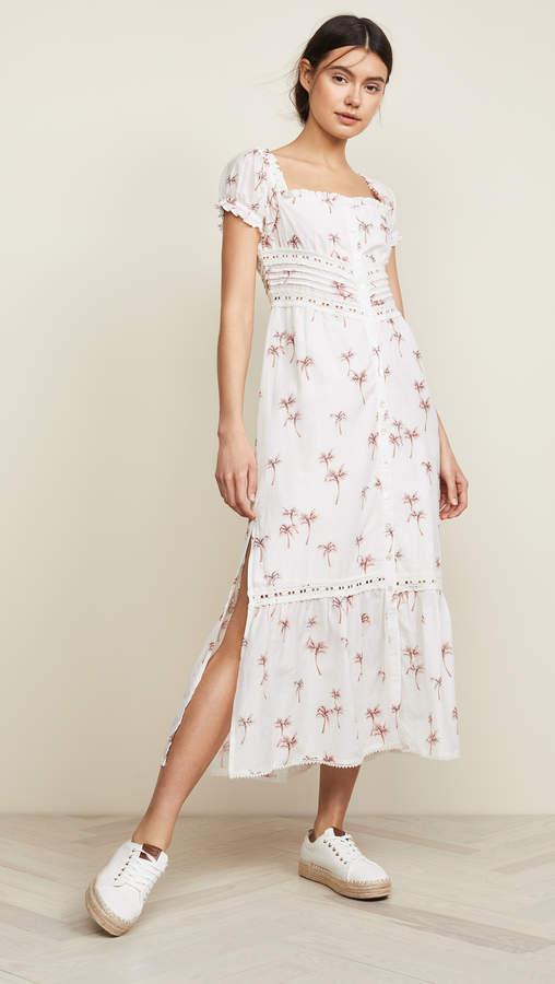 96024fc1186 CeCe Romantic Ditsy Floral Print Trellis Poet Sleeve A-Line Dress ...