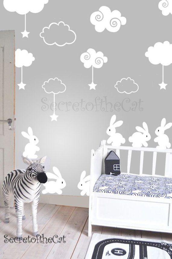 nursery decal - rabbit wall sticker - clouds decal - nursery decal