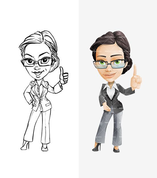 Business Woman Cartoon Character Set Female Cartoon Characters