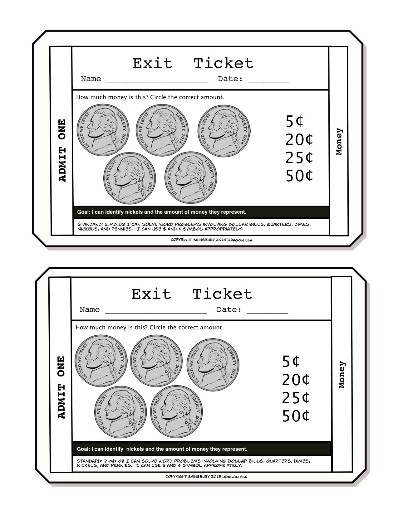 Money Exit Tickets First Grade