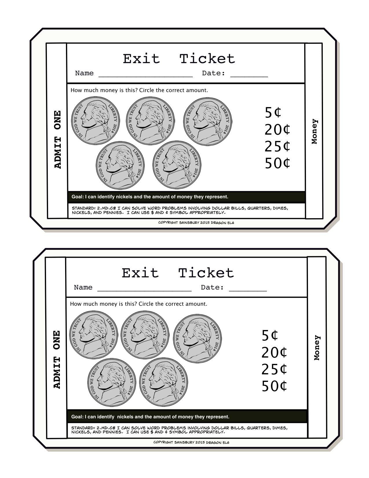 Https Www Teacherspayteachers Com Product Money Exit Tickets First Grade 3090174 These Exit Tickets Are Meant For F Exit Tickets First Grade Money Lessons [ 1651 x 1275 Pixel ]