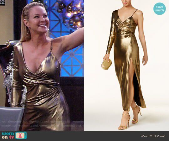 0b408166305 Sharon s gold one-sleeve gown on The Young and the Restless. Outfit Details