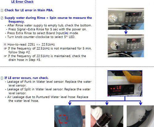 Samsung Front Loader Washing Machine Error Fault Codes