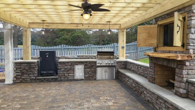 400 Sqft Of 3 Stone Pavestone Paver Patio Stone Veneer Outdoor Kitchen With  Built In Grill
