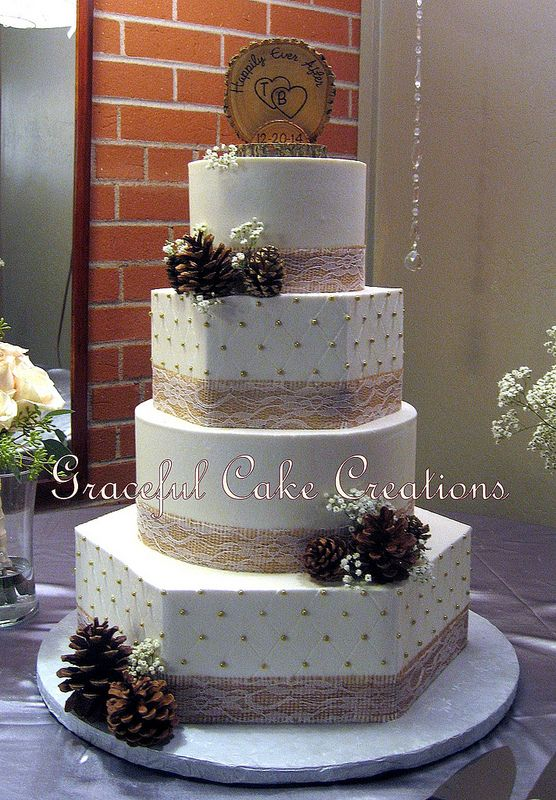 Elegant Country Chic Ivory Butter Cream Wedding Cake with ...