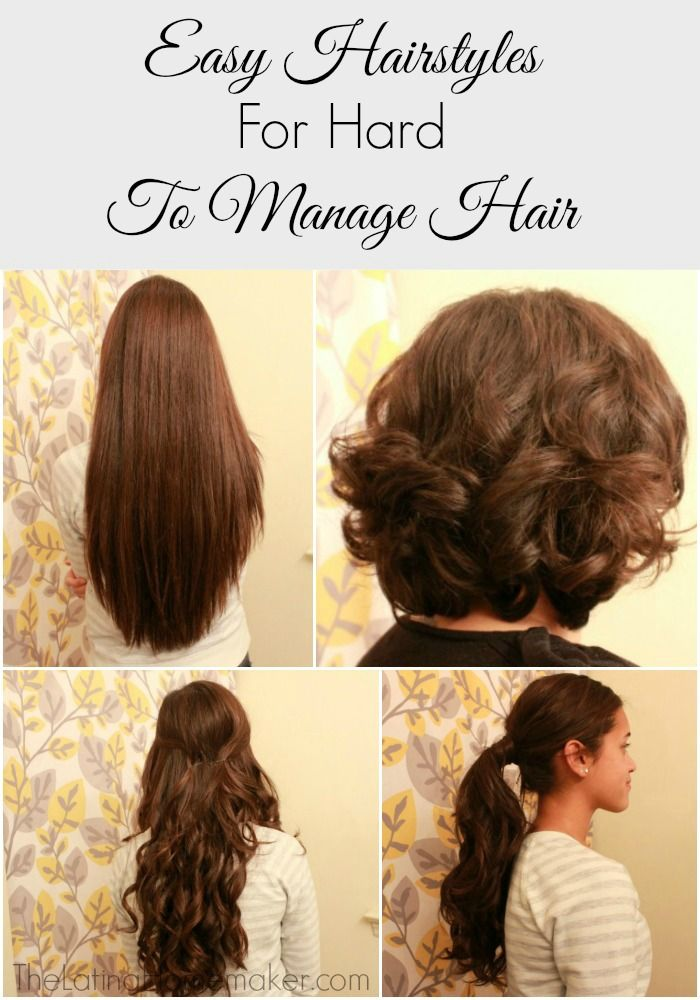 Easy Hair Styles For Hard To Manage Hair Easy Hairstyles Short Hair Styles Easy Thick Hair Styles