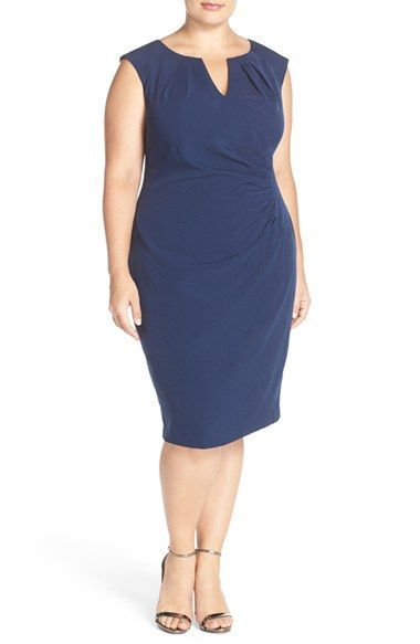 Adrianna Papell Womens Plus-Size Faux Wrap Pleats Sheath