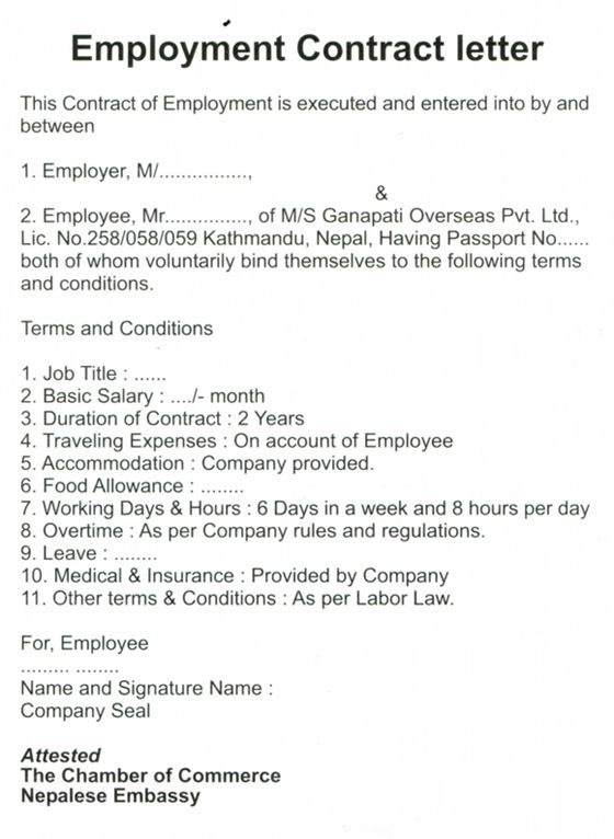Offer Letter Contract Employment Files From Users Format For