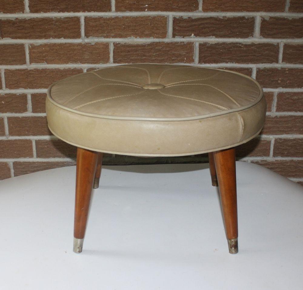Mid Century Modern Vinyl Round Beige Ottoman Foot Stool Wood Tapered Legs Beige Ottoman Ottoman Footstool