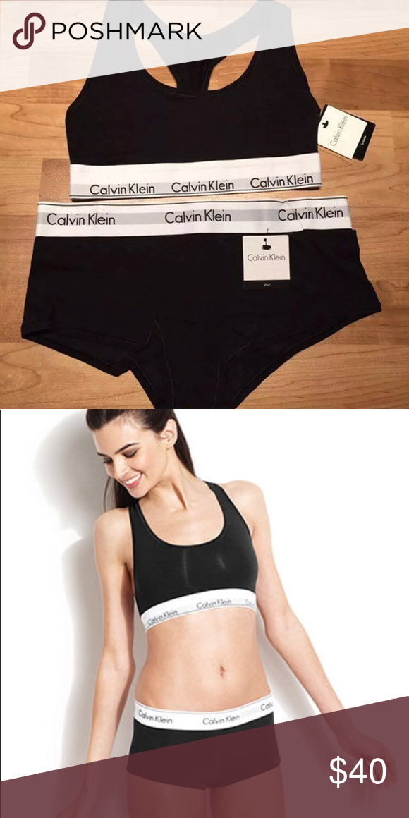 941d80d4bd Calvin Klein Bralette   Boyshort Small Set Brand new with tags Small black  set Thick band