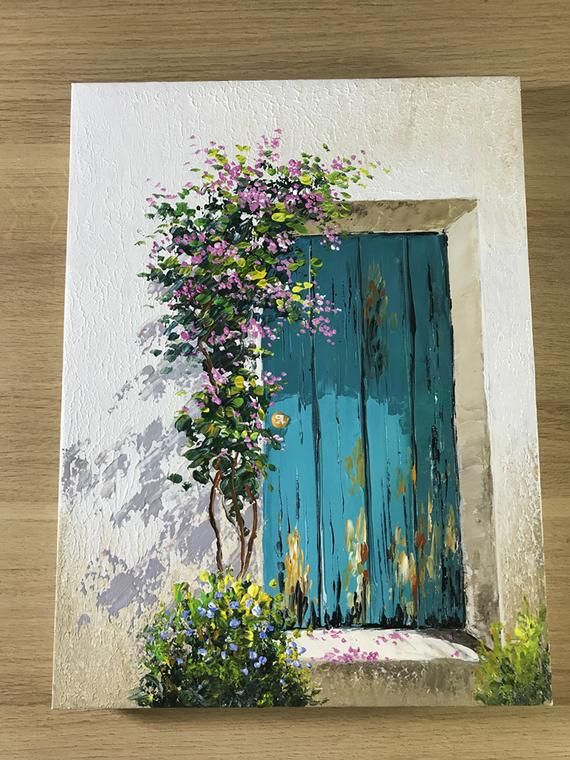 Daily Challenge 9 / Acrylic / How to Paint a Door and flowers | Etsy
