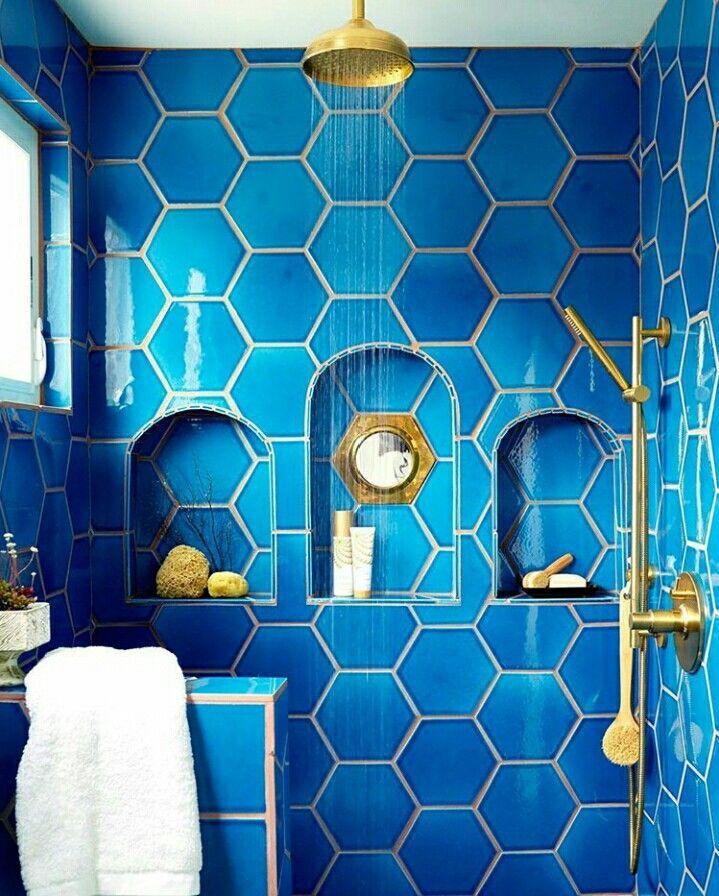 Pin de monica alfonso rios en new wc ideas ba os - Azulejos hexagonales bano ...