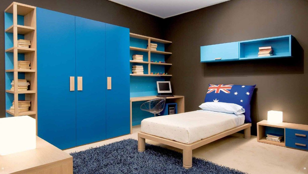 Kids bedroom designs ideas - Bedroom Beautiful Small Kids Bedroom Design Idea With Blue Cupboards And Brown Wall Paint Color