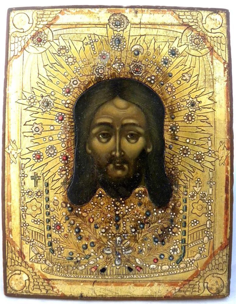 RARE 19c RUSSIAN ANTIQUE ICON HOLY FACE VERNICLE gold
