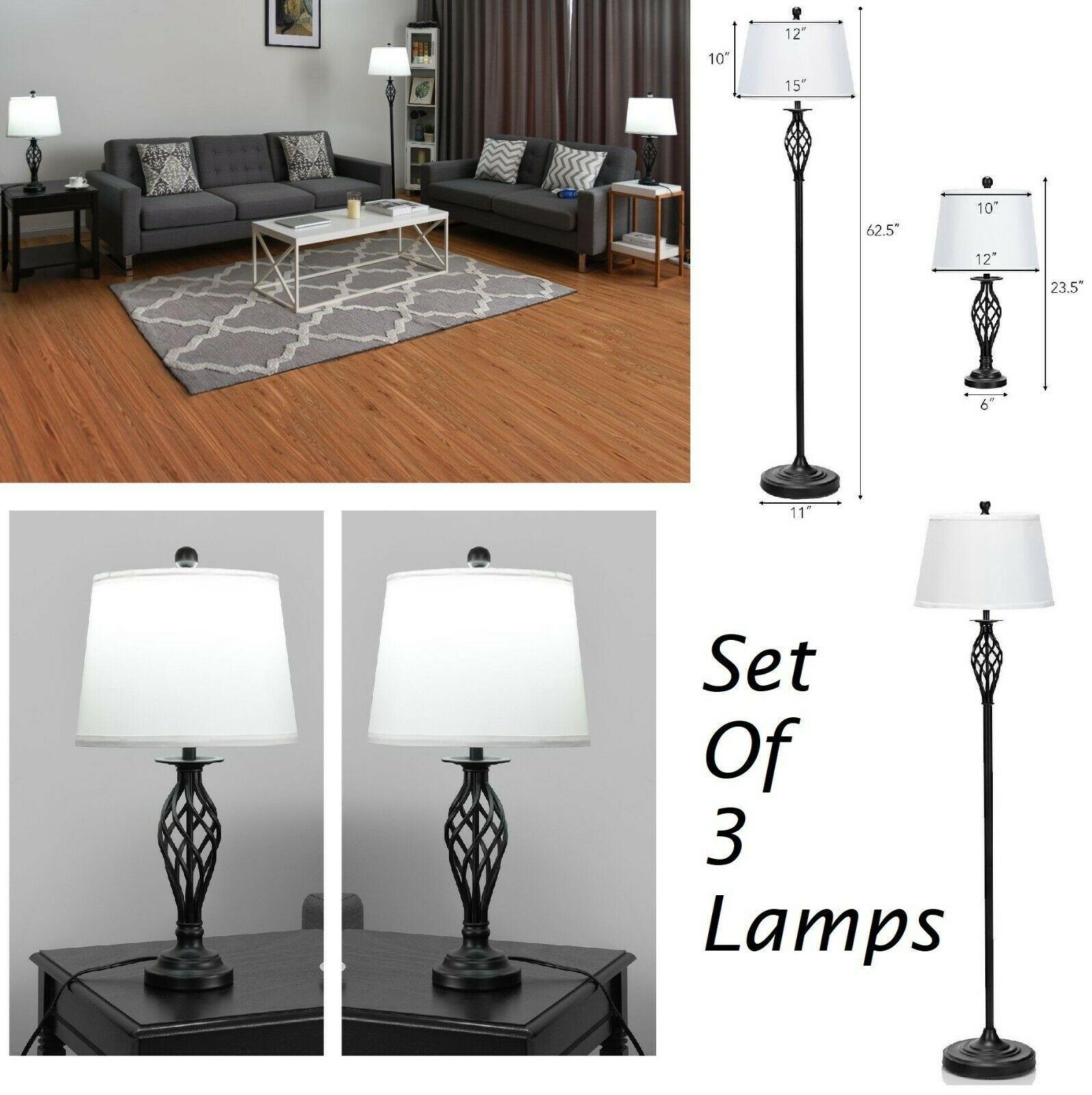 Floor Lamp Set With 2 Table Lamp Living Room Lighting Modern Home