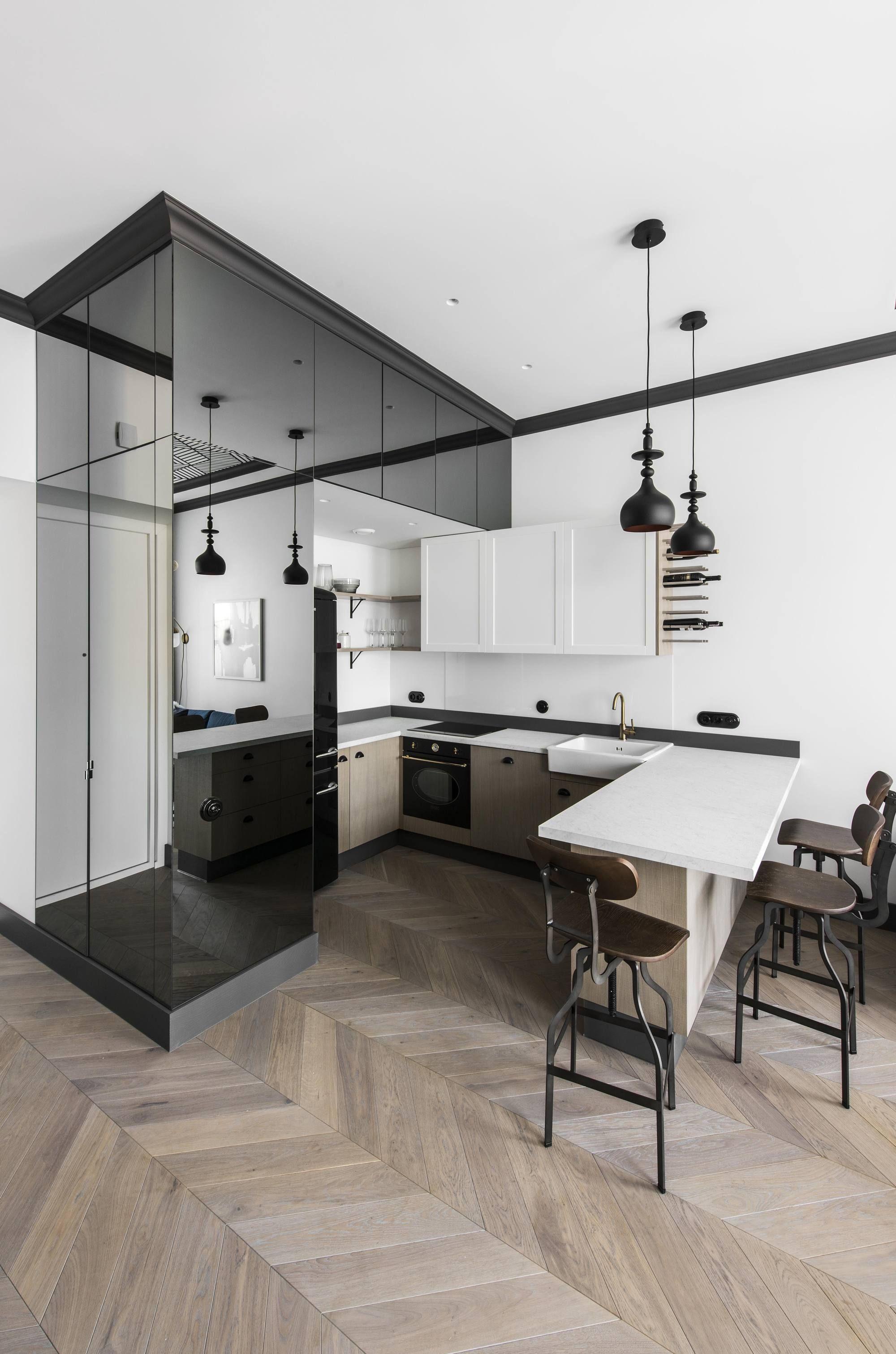 Imagen 7 De 29 De La Galería De Departamento En La Ciudad Antigua De Vilna Small Apartment Interior Modern Kitchen Interiors Scandinavian Kitchen Renovation