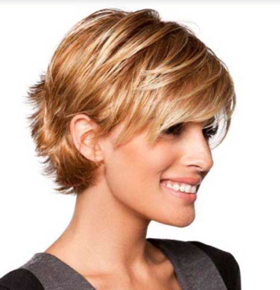 long layered pixie tucked
