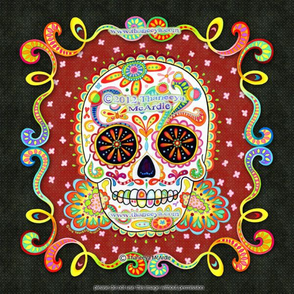 Border Using Prismacolor Colored Pencils Then Scanned Them Into Photoshop Where I Created The Background This Artwork Honors Mexicos Day Of Dead