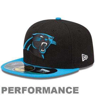 9927e2058 New Era Carolina Panthers On-Field Player Sideline Performance 59FIFTY  Fitted Hat - Black Panther Blue 7 5 8