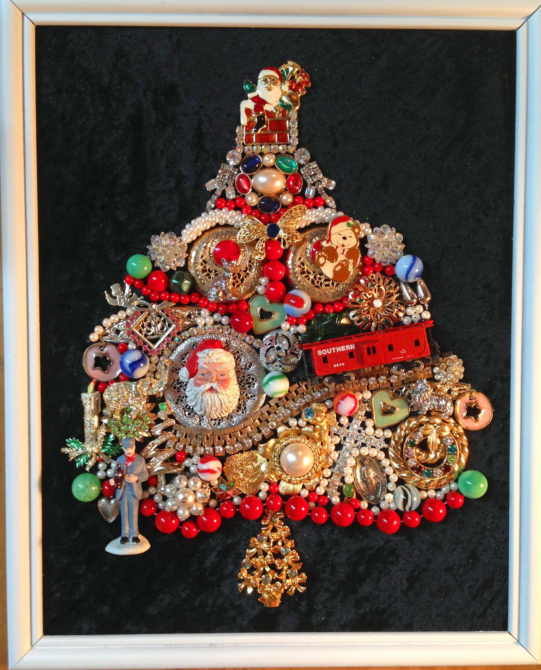 Sold Whimsical Framed Train Christmas Tree Using Vintage Jewelry Marbles Toy Trink Vintage Jewelry Repurposed Jeweled Christmas Trees Vintage Jewelry Crafts