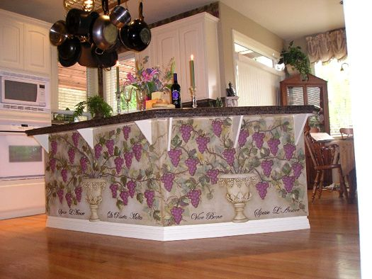 Ellis Ellis creates a beautiful kitchen island with our plaster grapes stencil and mold