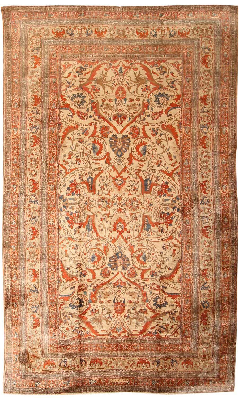 Polonaise antique oriental rugs - Antique Silk Serapi Heriz Persian Rug From Nazmiya 7996