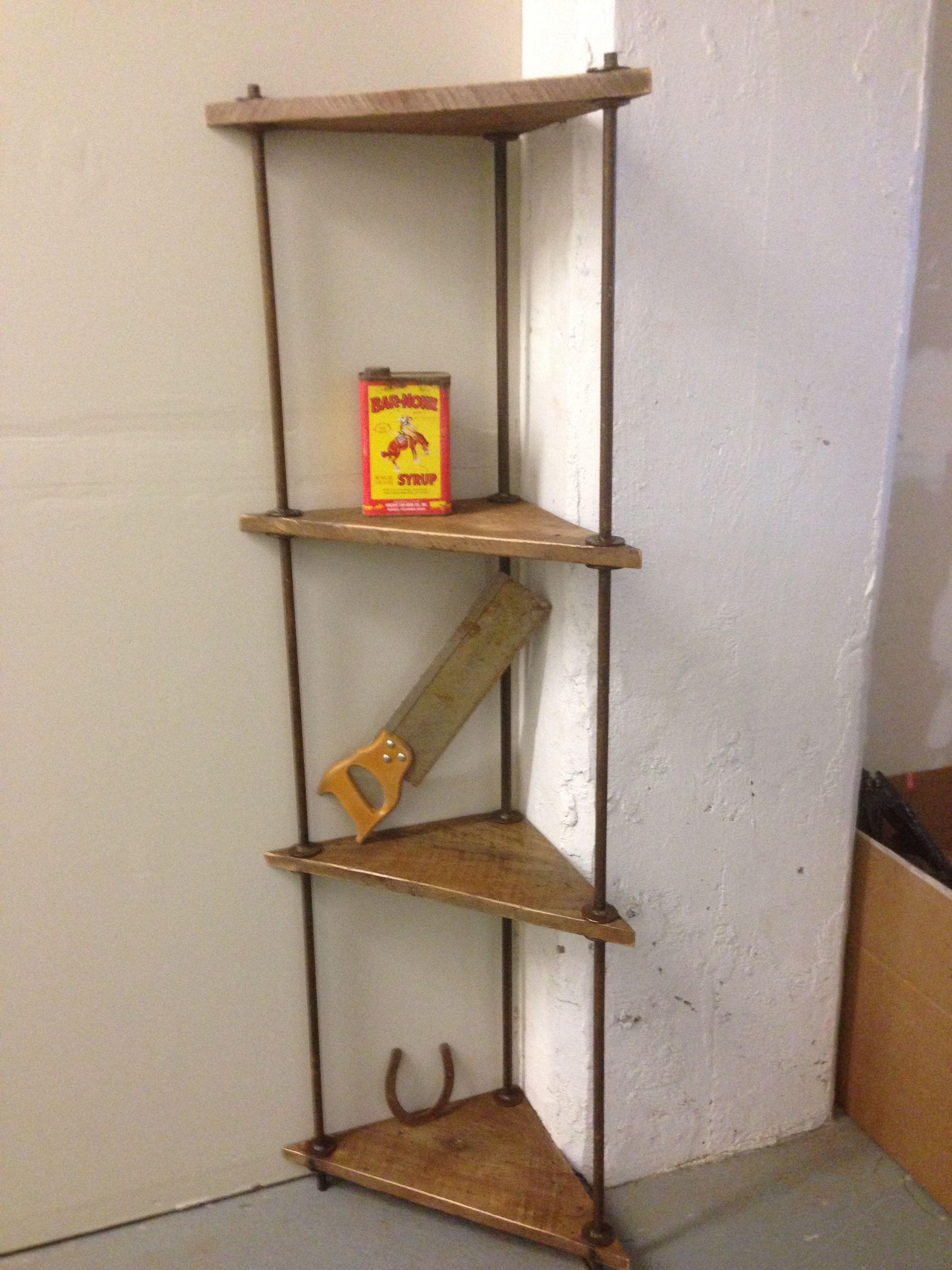 Rustic Wood And Metal Corner Shelf Eckregale Eckregal Metall Regal