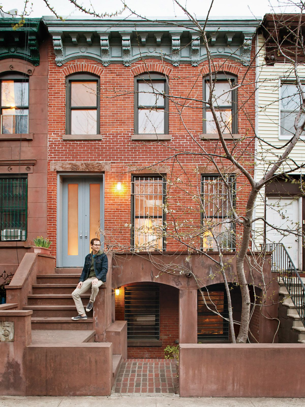 Traditional brownstone in brooklyn heights with contemporary - Sherman Sits In Front Of His Prospect Heights Home The Front Door Is Made From Etched Lexan Bulletproof Glass Photo By Dustin Aksland