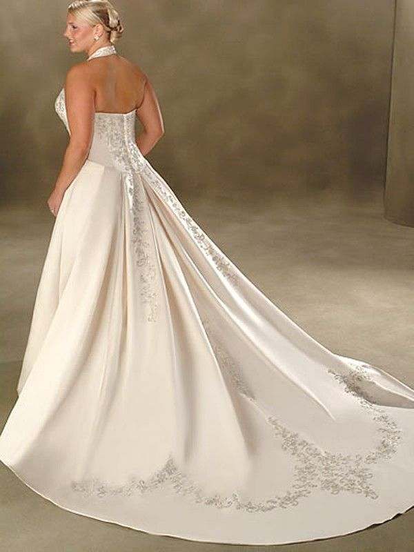 Cheap A Line Halter Embroidery Sleeveless Court Trains Satin Wedding Dresses