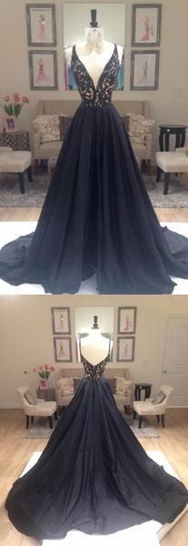 Popular A-line V-neck Black Long Prom Dress Ball Gown