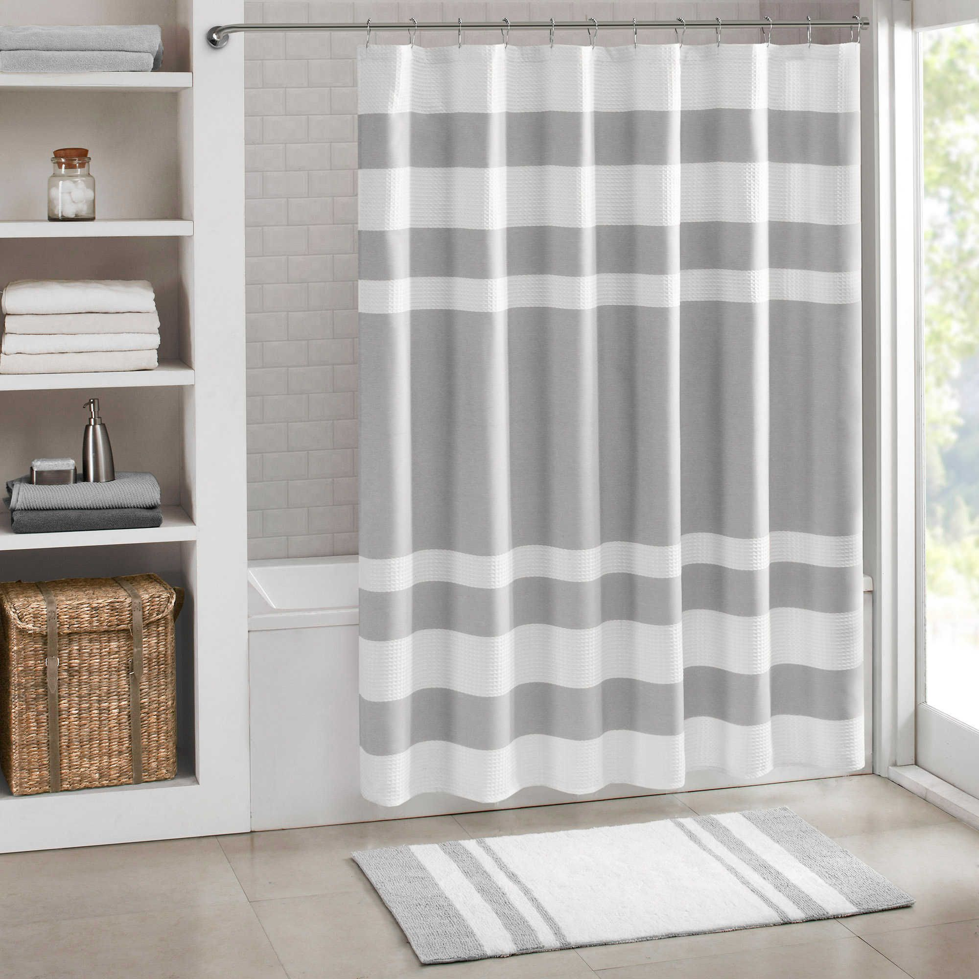Madison Park Spa Waffle Shower Curtain In Grey Spa Shower