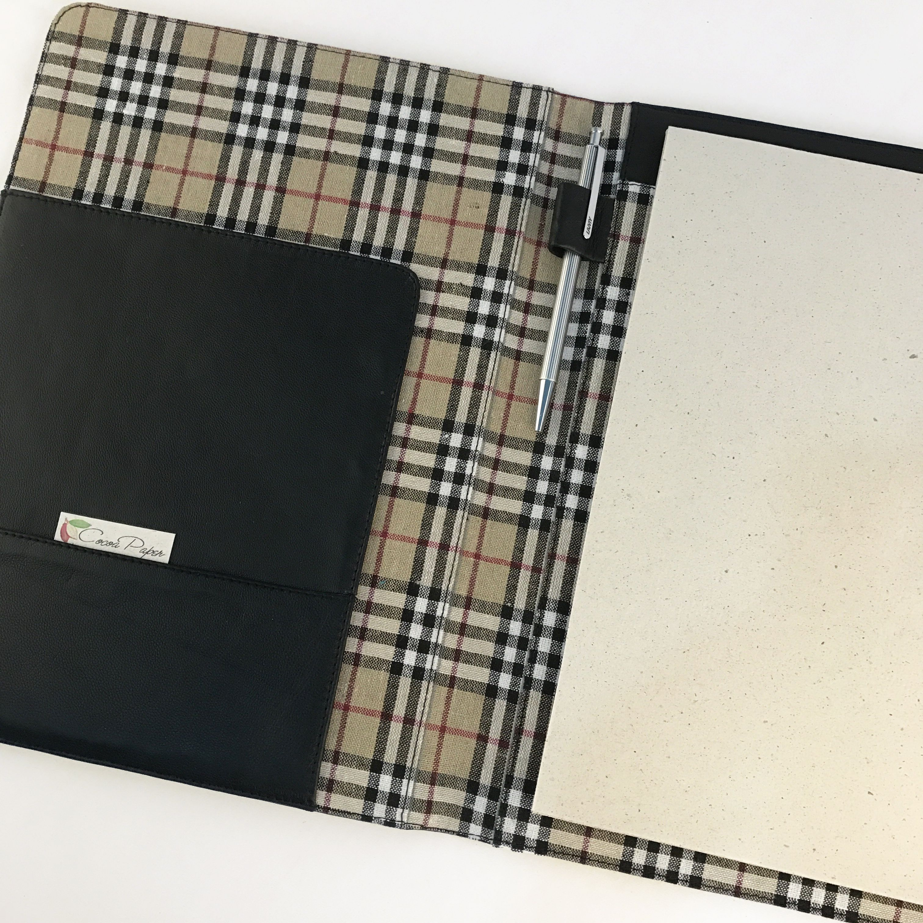 A4 Fabric Lined Leather PadFolio / Portfolio / Pad Holder with 2 ...