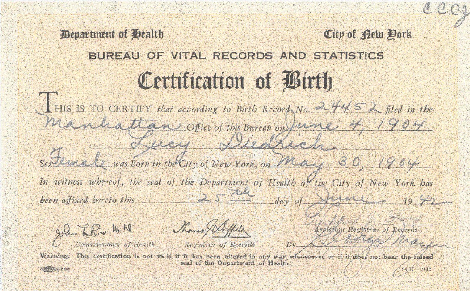 Lucy Diedrich Birth Certificate New York Dietrich Diedrich