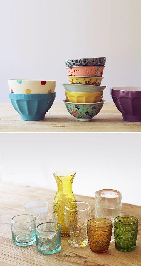 pretty bowls and glasses