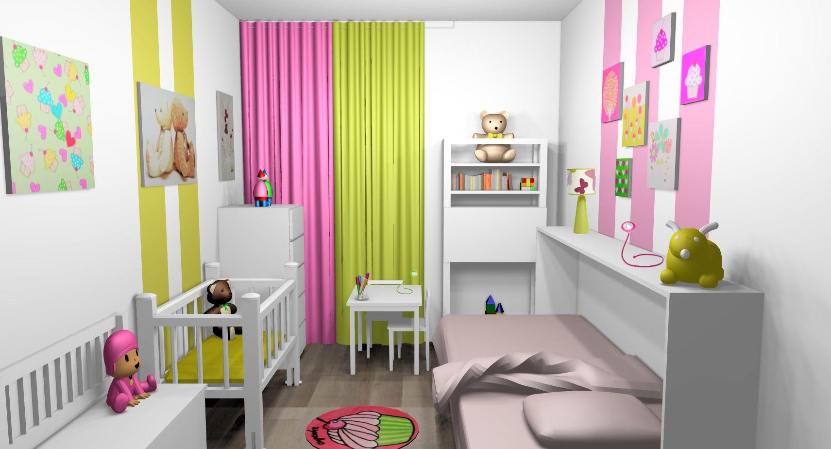 chambre mixte fille b b bandes peinture touches vert anis rose 1711 924 deco chambre. Black Bedroom Furniture Sets. Home Design Ideas