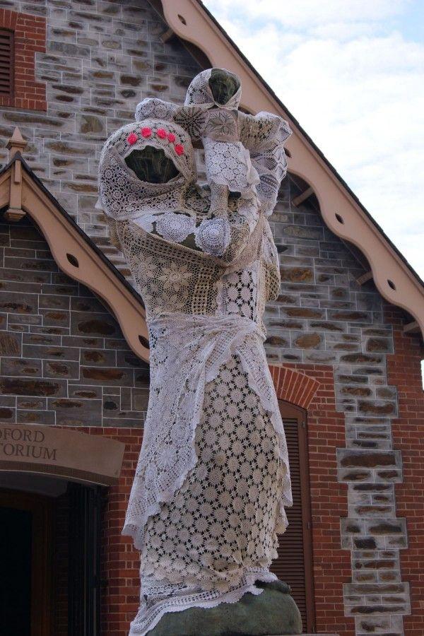 Lace yarnbomb statue   Yarnbombing / Guerilla Knit and Crochet ...