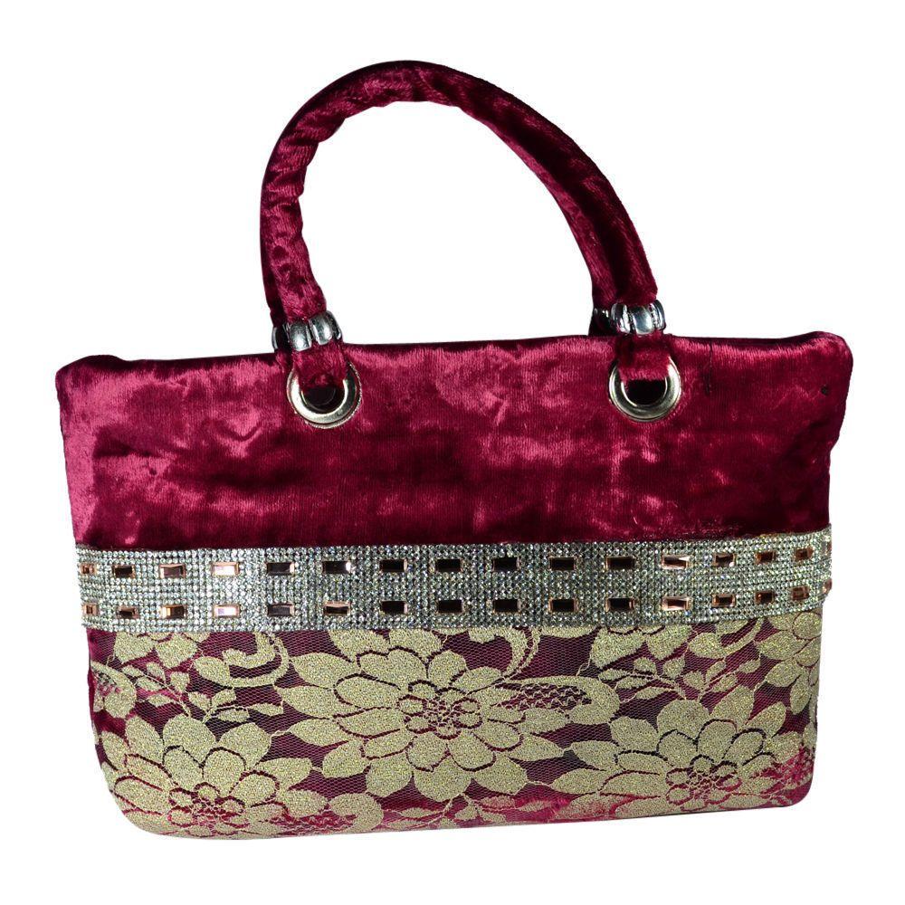 Elegant Maroon Velvet Golden Silver Design Party Womens Hand Made Bag Xmas Sale! #Unbranded
