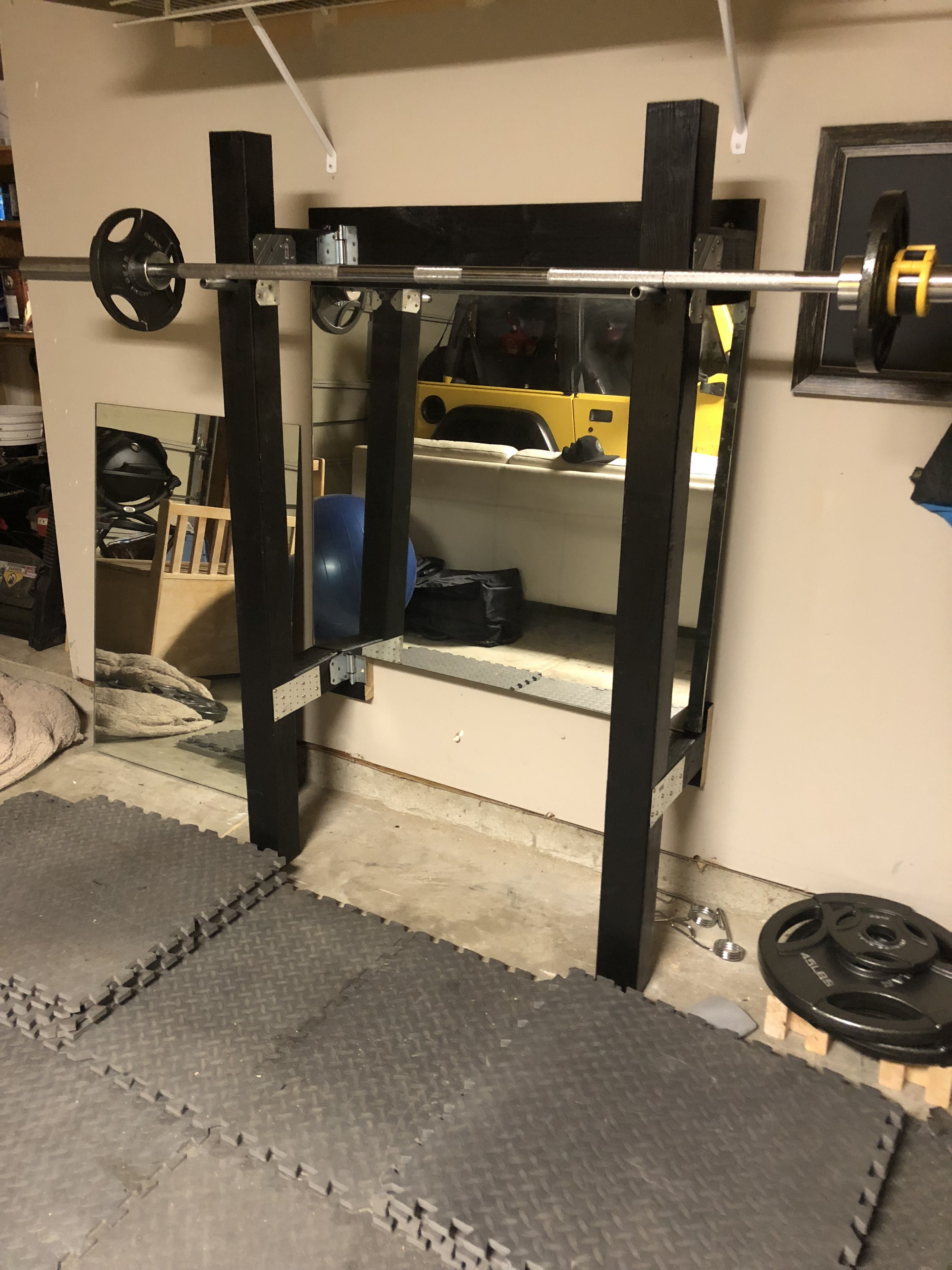 Custom wooden folding squat rack for garage gym garage gym rack