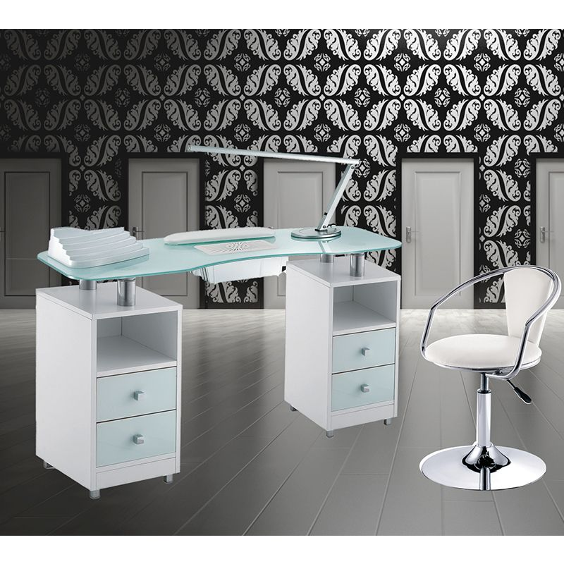 Manicure table Wood Glass Double Vented for beauticians