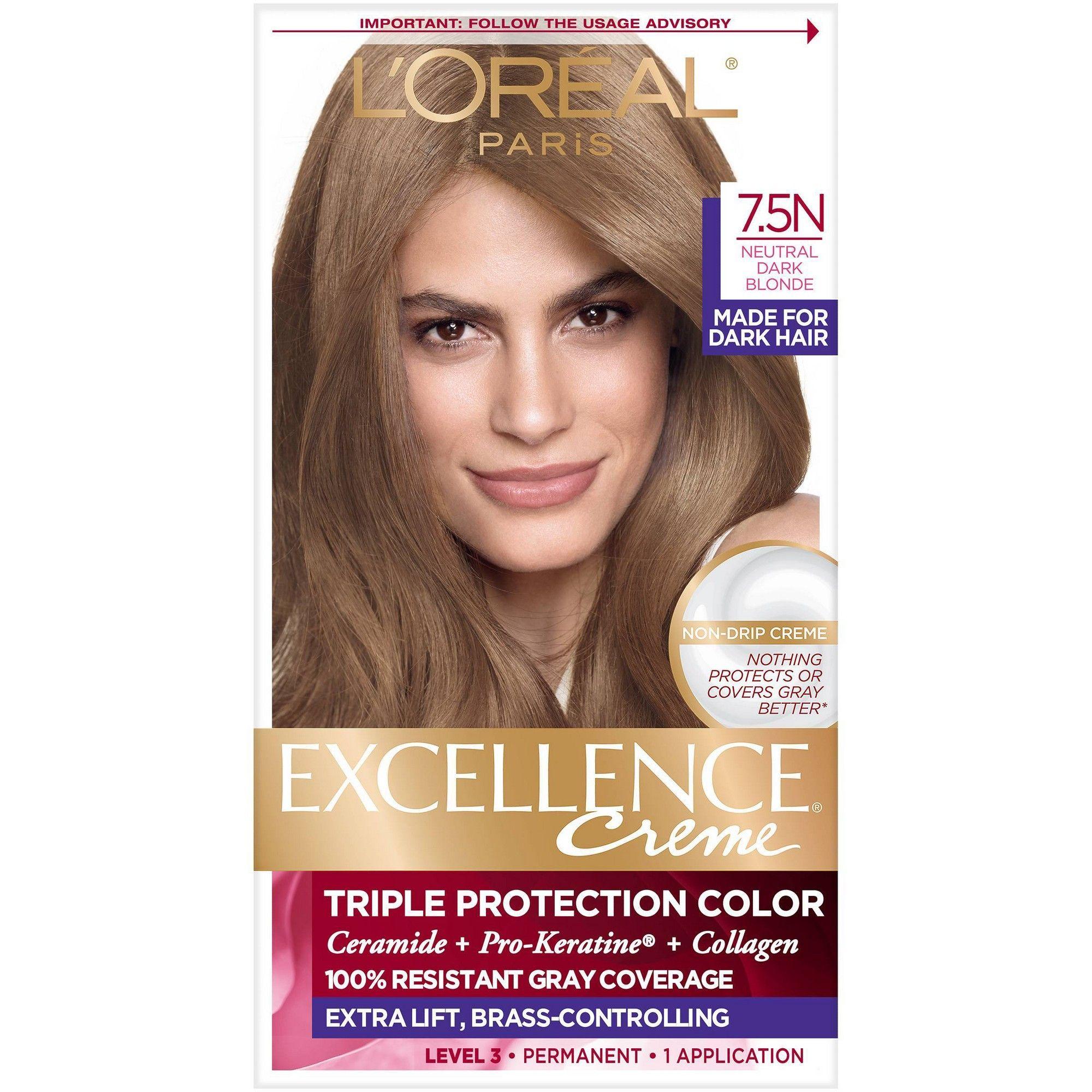 L Oreal Paris Excellence Creme Permanent Triple Protection Hair Color 7 5n Dark Neutral Blonde 1 Kit In 2021 Neutral Blonde Loreal Hair Color Brunette Hair Color