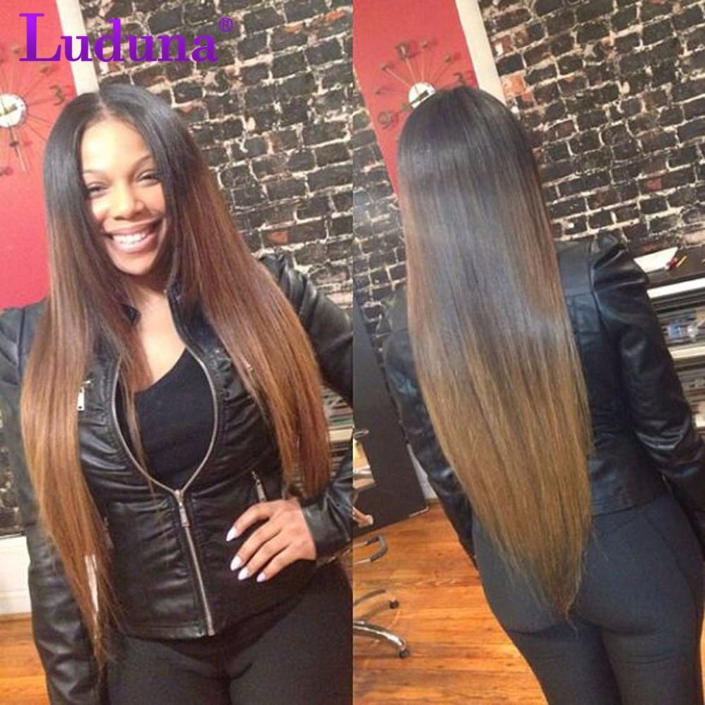 8a ombre peruvian virgin hair straight 4 bundles two tone