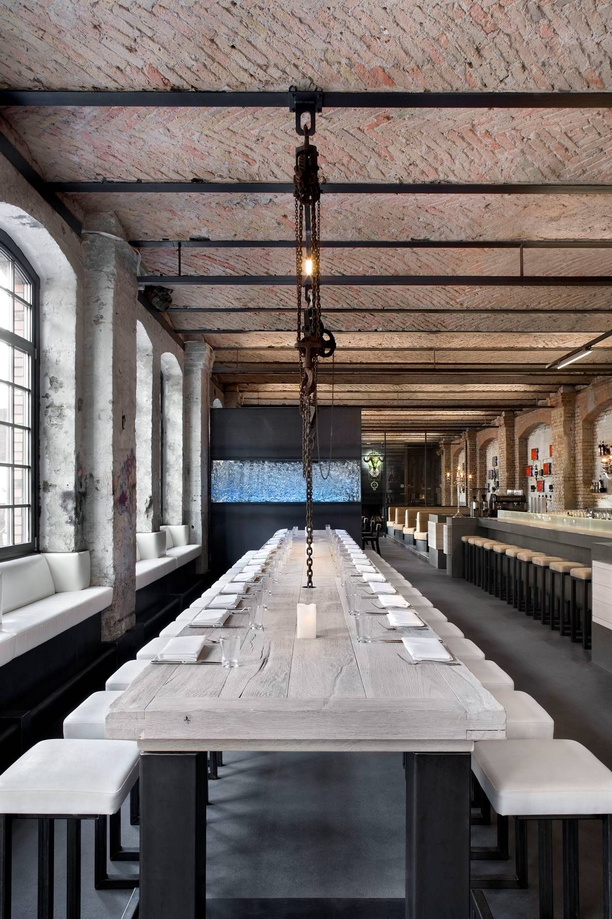 sage #restaurant, #berlin. the ceiling has an industrial style