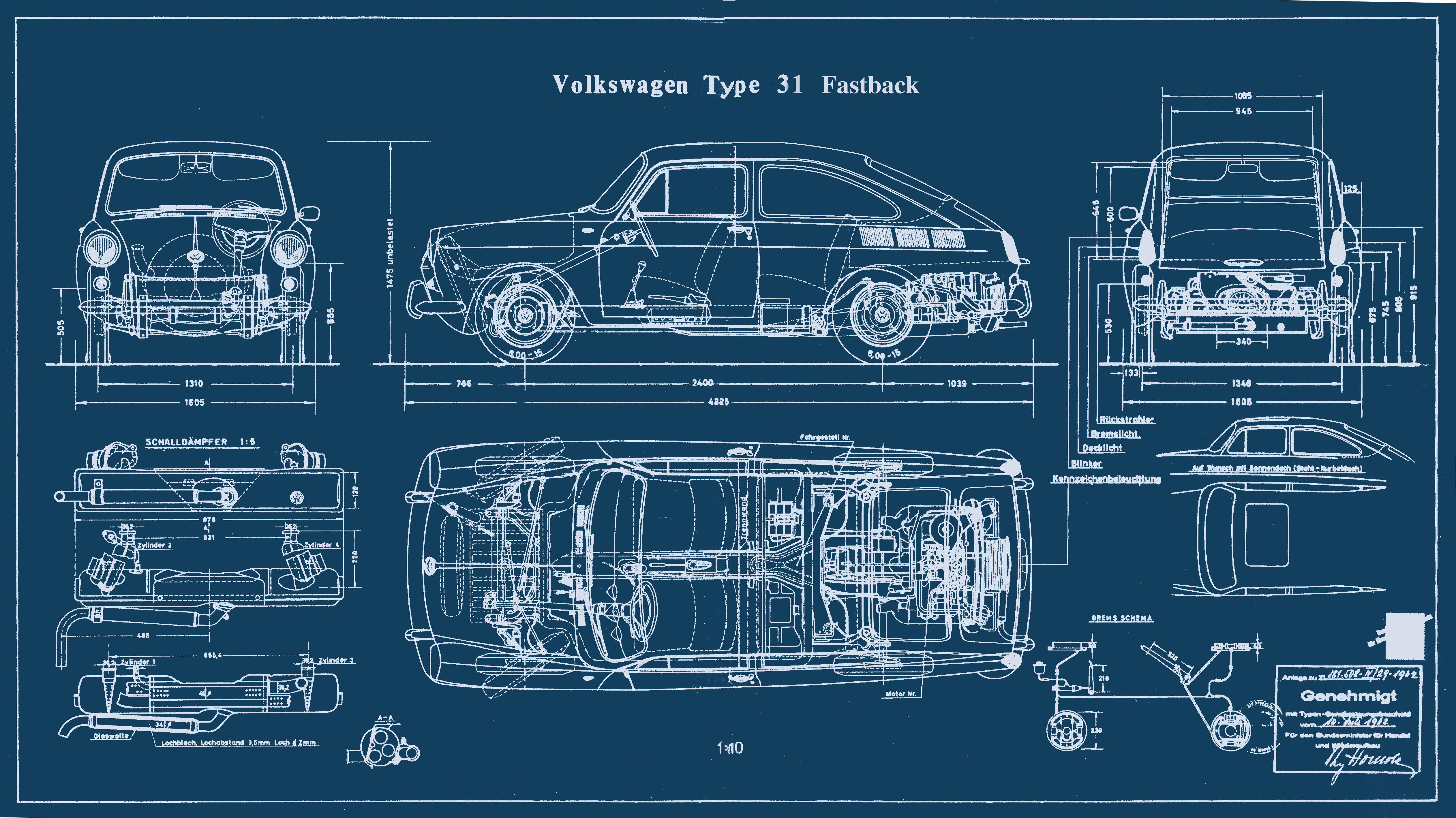 Type 3 fastback blueprint vw 1500 type 3 pinterest for Print blueprints